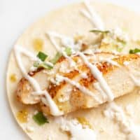 Close up of a corn tortilla filled with chicken soft taco ingredients.