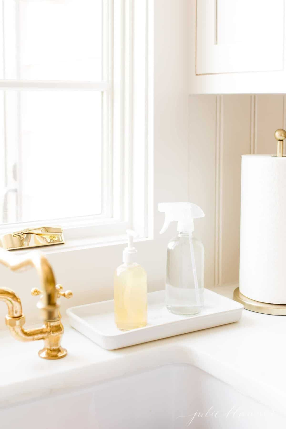 Simple kitchen storage of spray and soap near the sink.