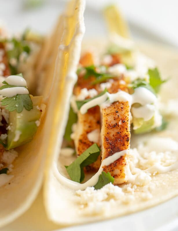 Close up of a chicken taco topped with fresh taco ingredients.