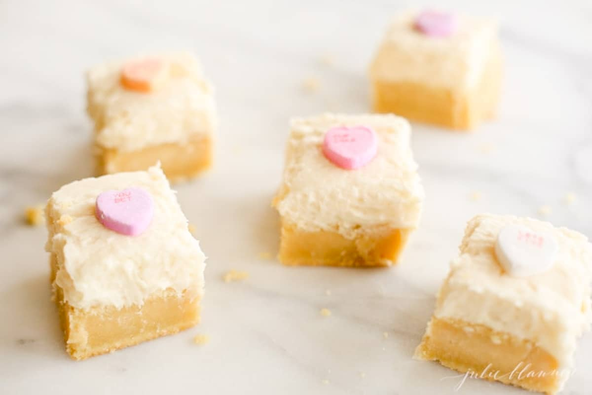 sugar cookie bars scattered on marble