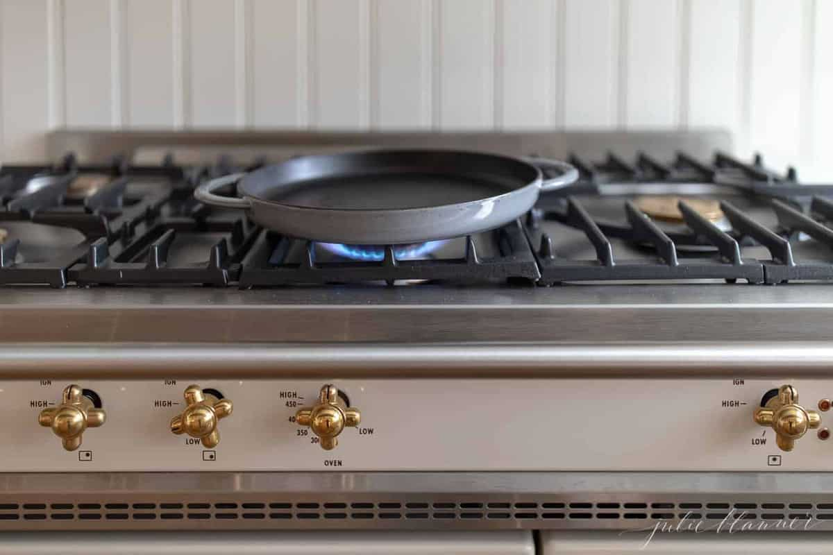 A pan on a stovetop.