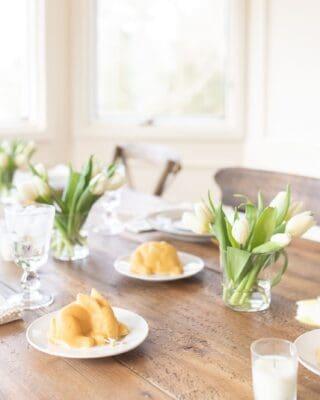 Dining table set for Easter brunch.