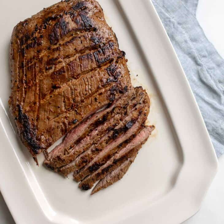A flank steak after being pan fried.