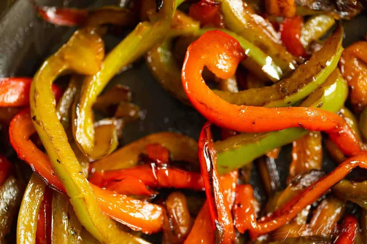 Close up shot of sauteed peppers.