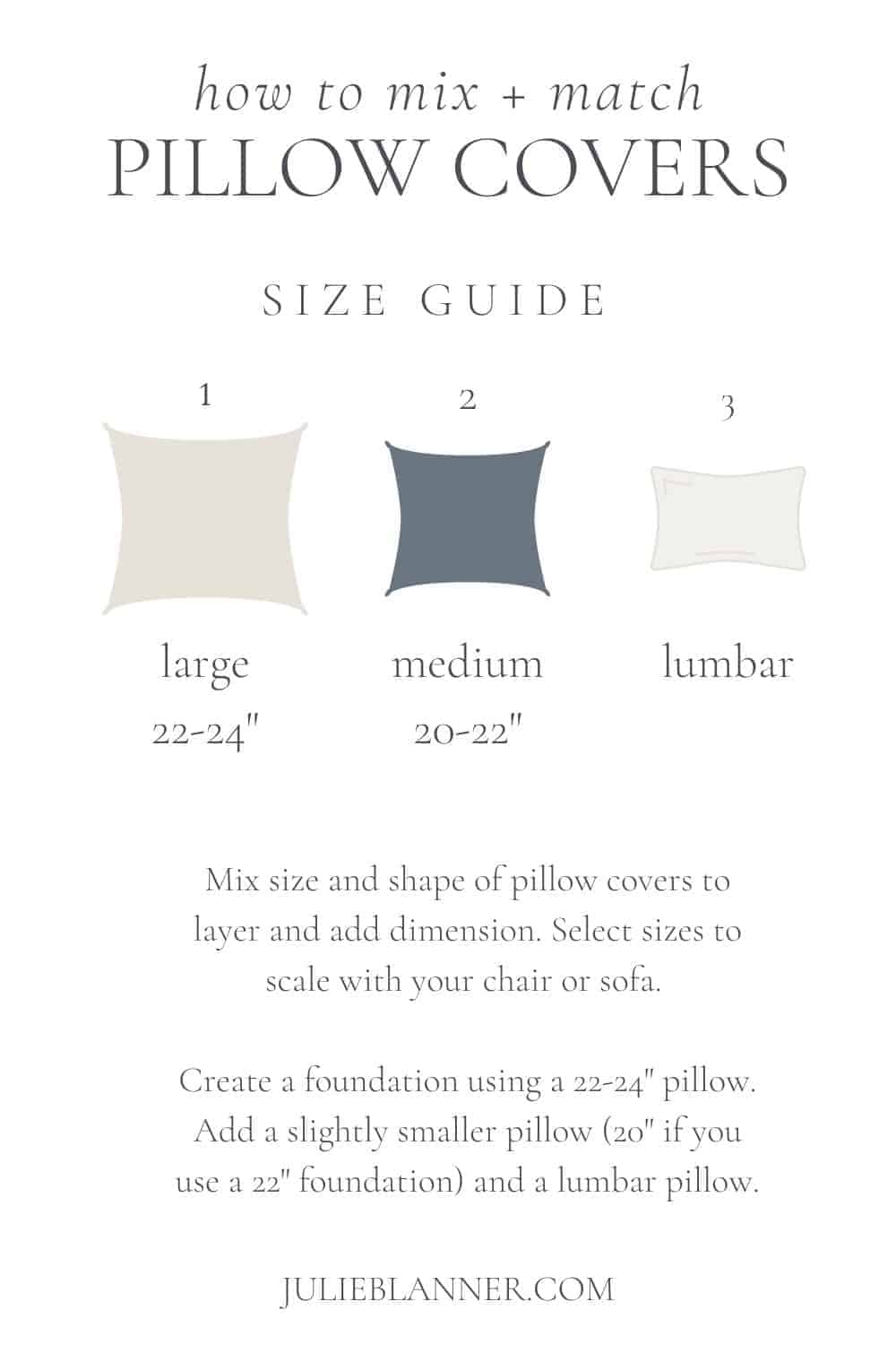 guide to pillow cover sizes