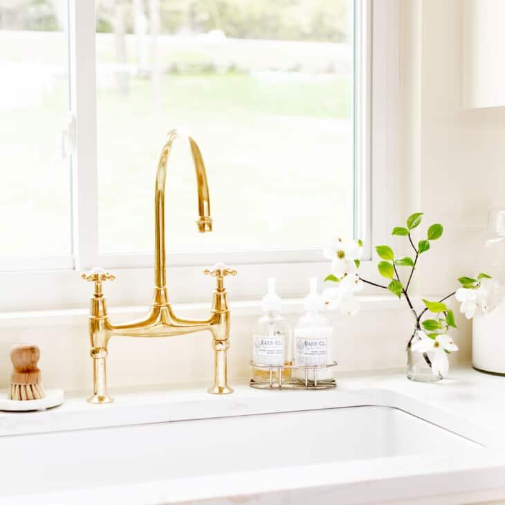 brass faucet in kitchen