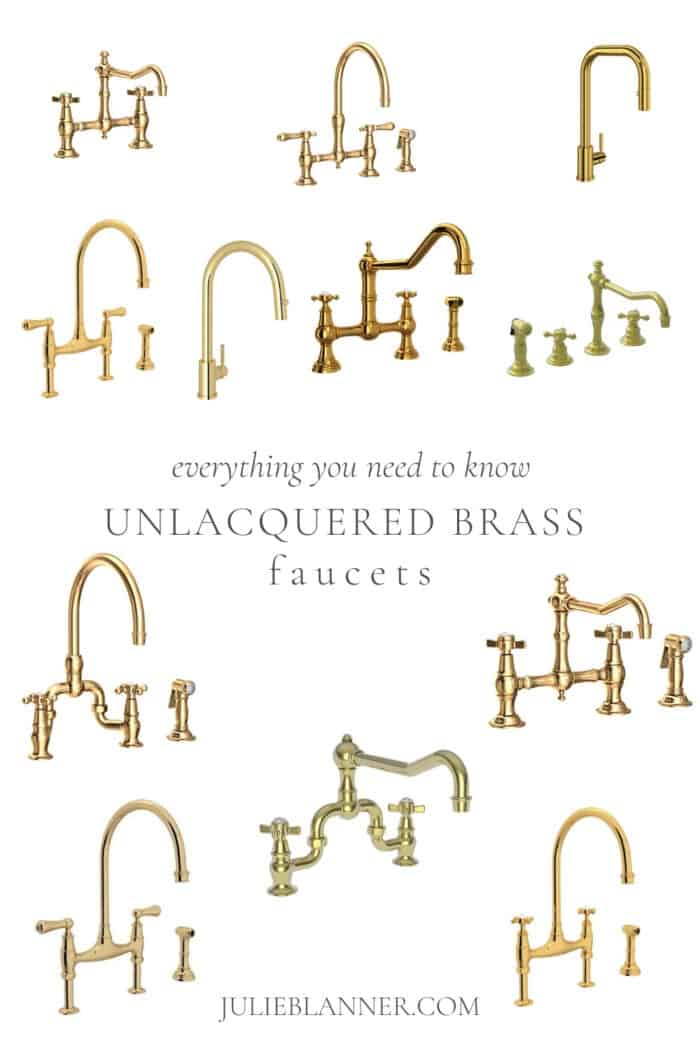 a collection of unlacquered brass kitchen faucets