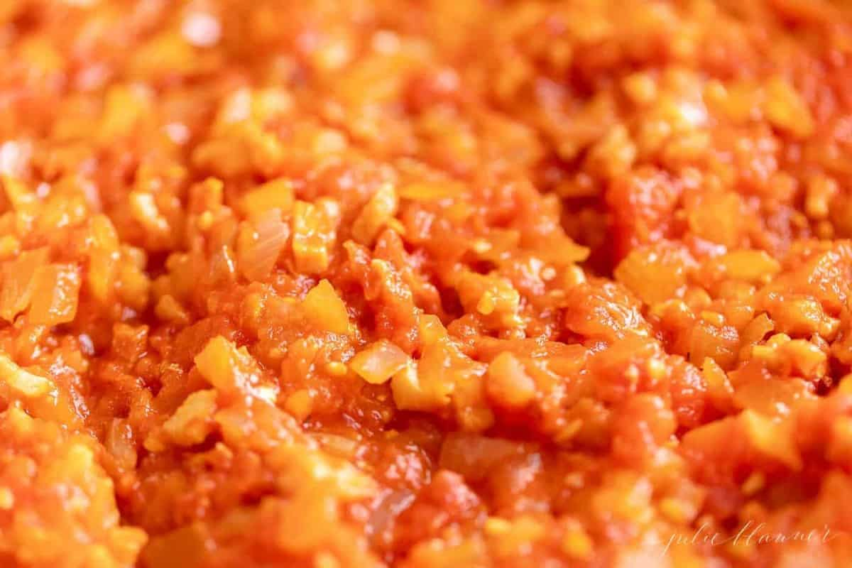 Close up shot of Amatriciana Sauce