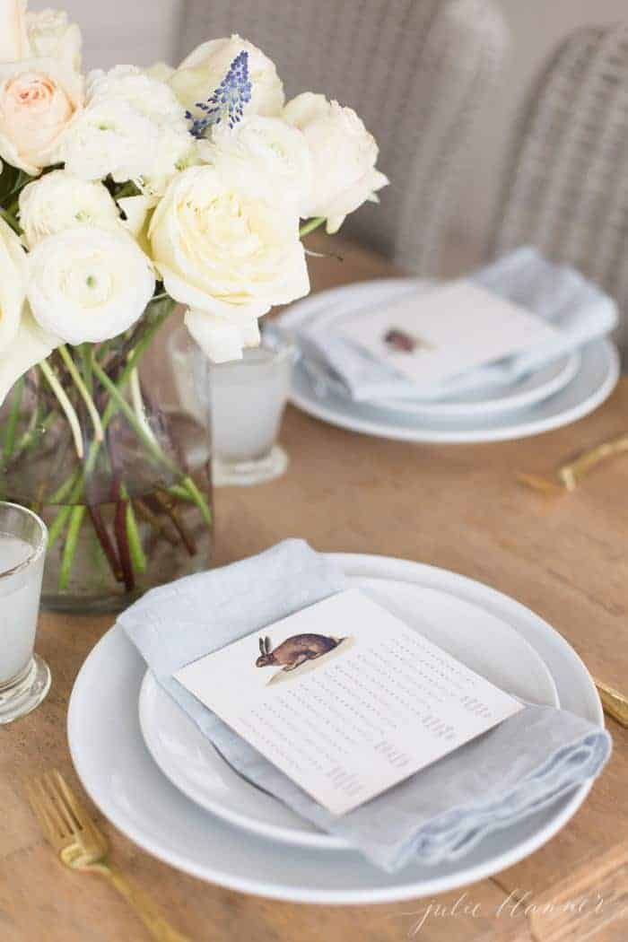 A dining room set with Easter flowers and a printable word search.