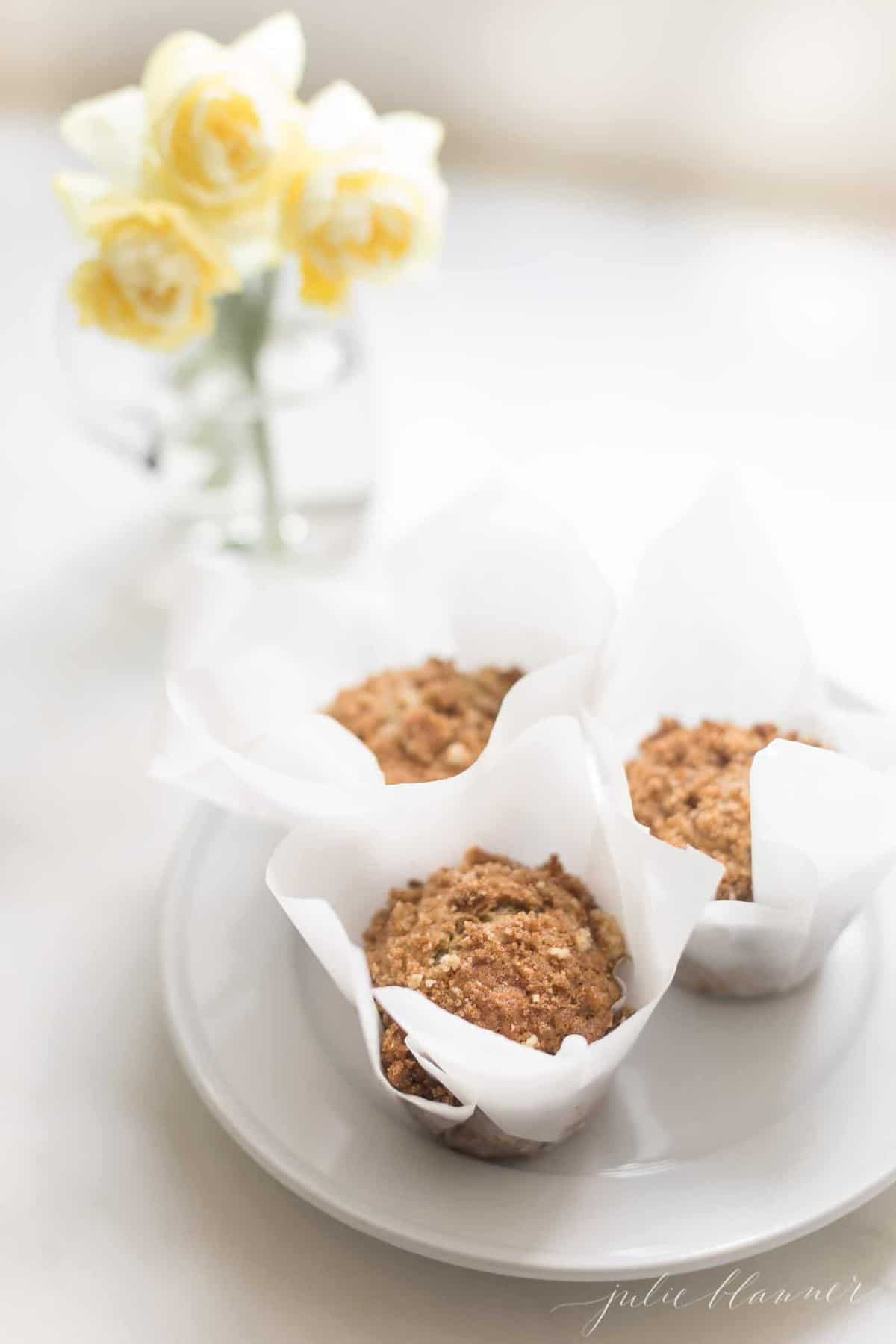 Quick bread muffins in white paper wrappers