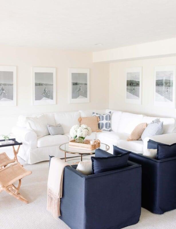 modern blue and white living room
