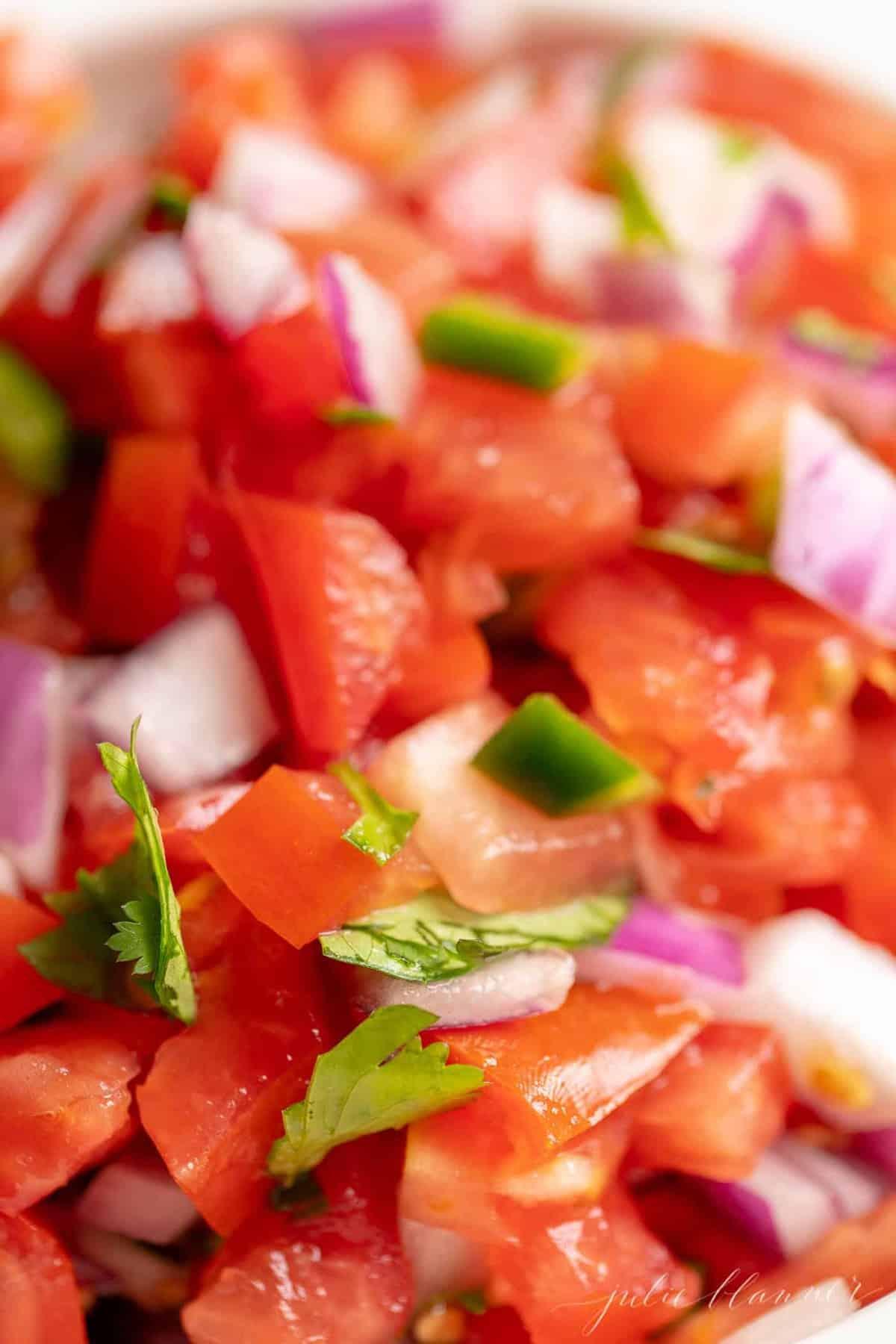 close up of an easy chopped pico de gallo recipe