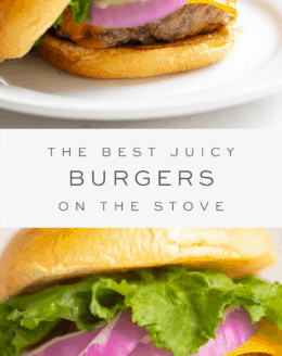 juicy burger on a bun with cheese, red onions, and lettuce on a plate, with text overlay and close up burger on a plate.