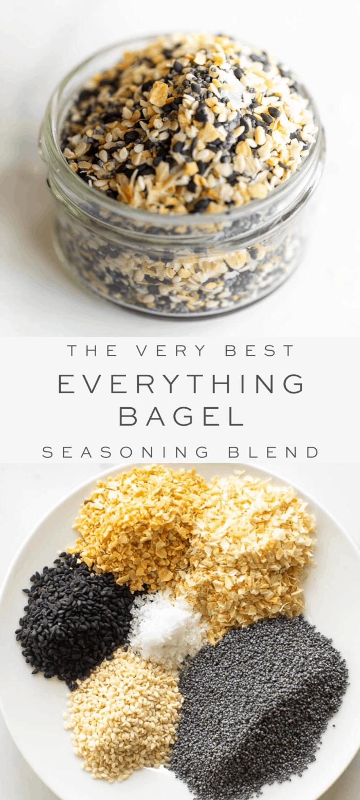 everything bagel seasoning in glass jar, overlay text, ingredients in everything bagel seasoning