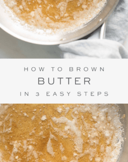 Brown butter in a skillet with text overlay and close up brown butter in a skillet