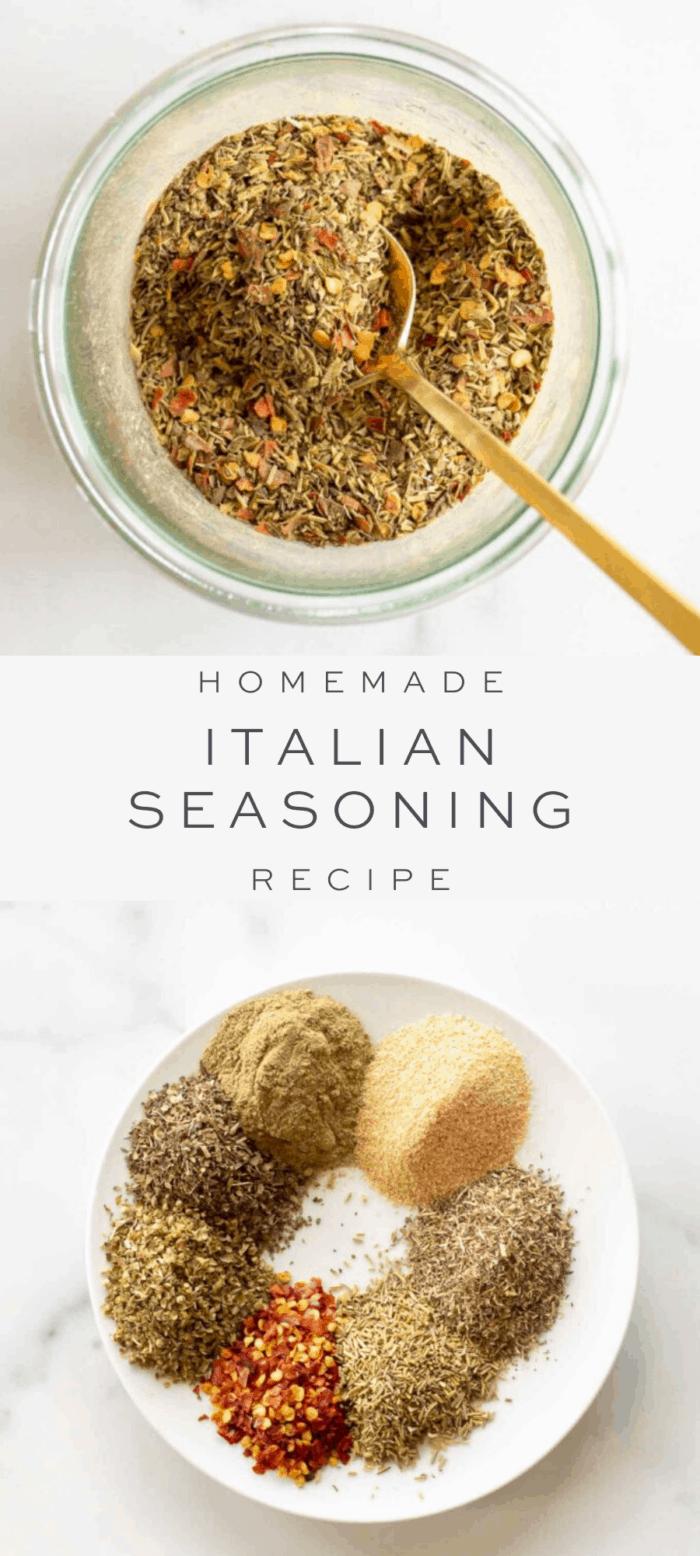 Italian seasoning in bowl with spoon, overlay text, ingredients in Italian seasoning