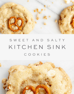 kitchen sink cookies on surface, text overlay, close up of cookie