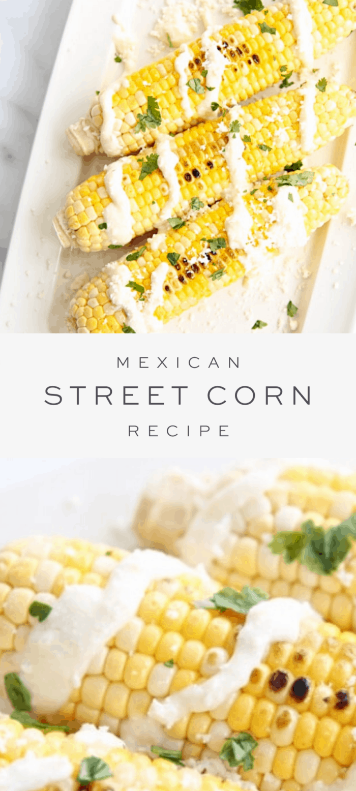 Mexican street corn on white platter, text overlay, close up of Mexican street corn.