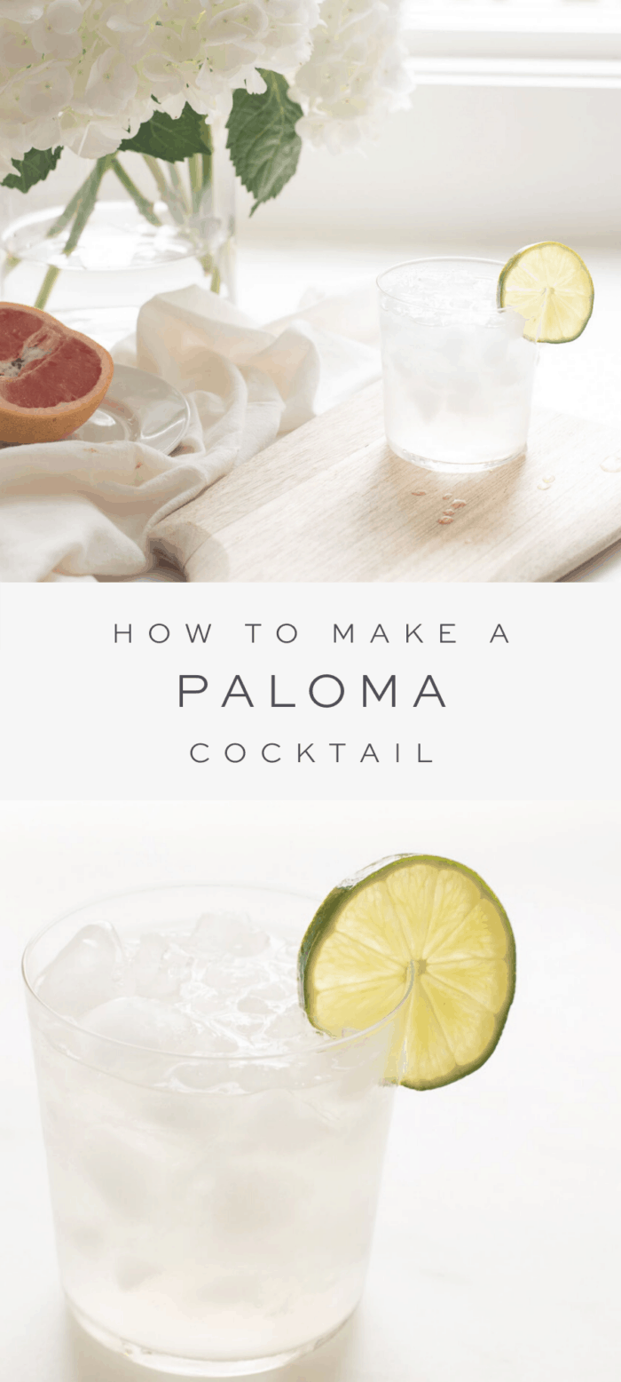 Paloma Cocktail with lime garnish on wooden cutting board and white flowers, text overlay and close up of paloma cocktail