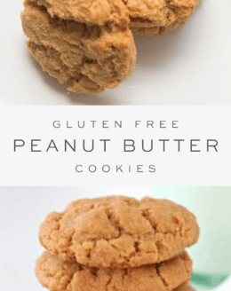 Flourless peanut butter cookies on white plate, text overlay, stack of peanut butter cookies