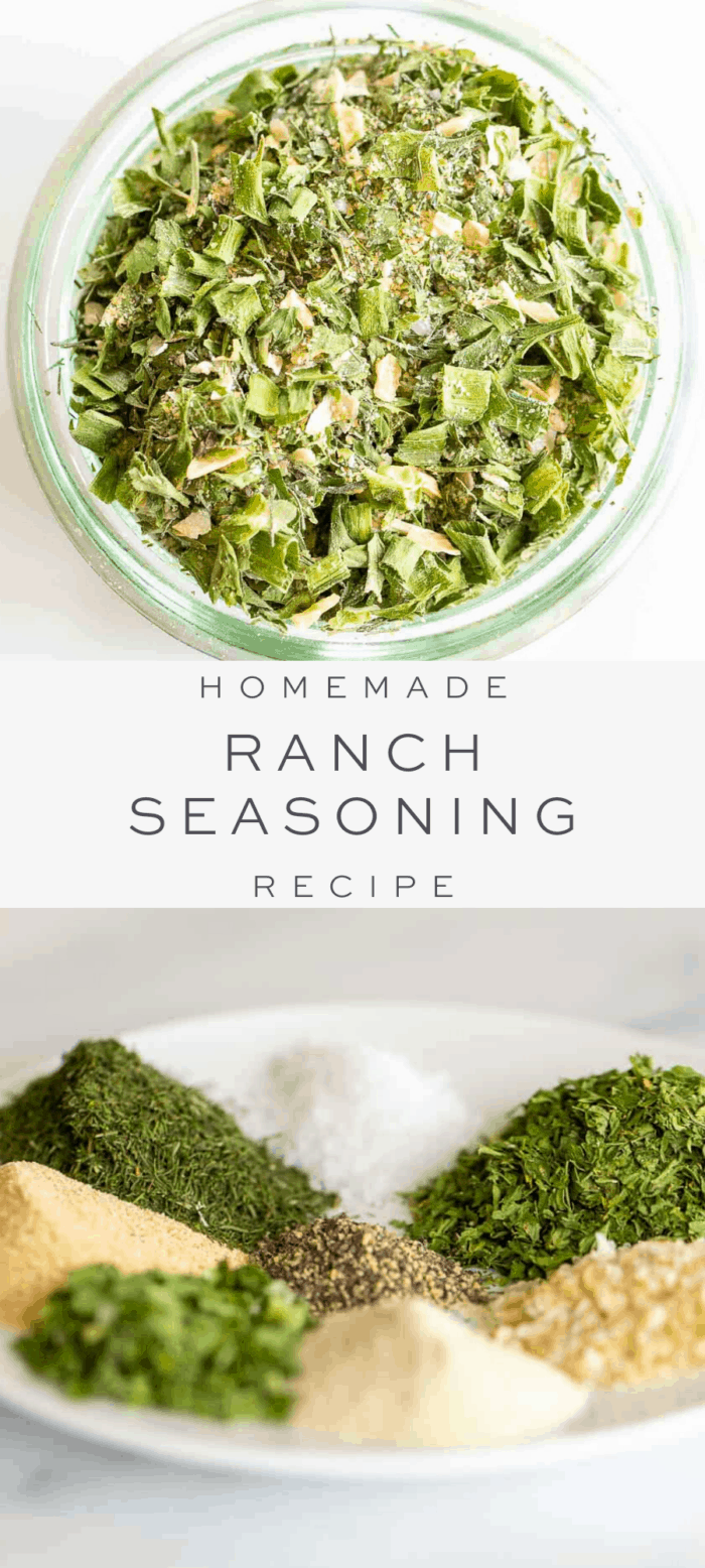 ranch seasoning in small clear bowl, overlay text, ingredients in ranch seasoning