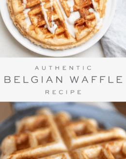 Waffle belga com calda em um prato branco, sobreposição de texto, waffle belga em uma chapa