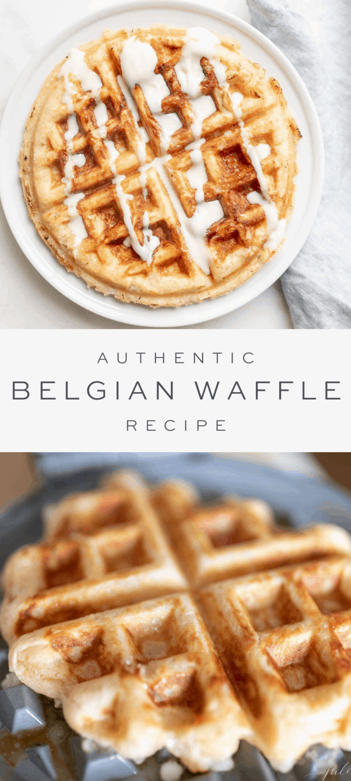 Belgian waffle with syrup on a white plate, overlay text, Belgian waffle on a griddle