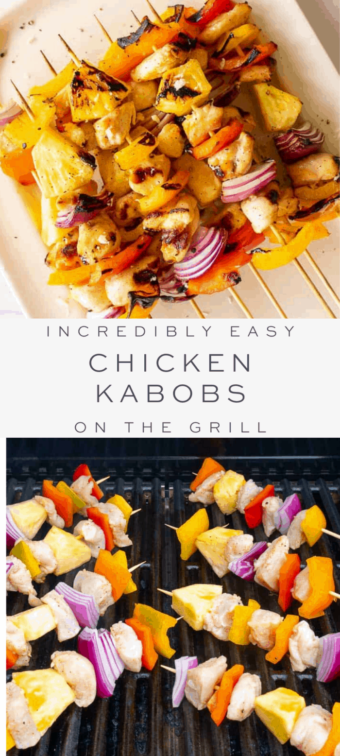 chicken kabobs on skewers, overlay text, kabobs on the grill