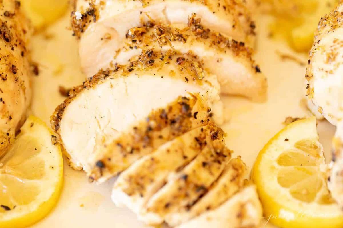 sliced chicken with lemon pepper seasoning.