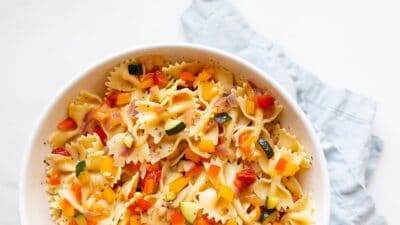 A white bowl filled with an easy pasta salad recipe