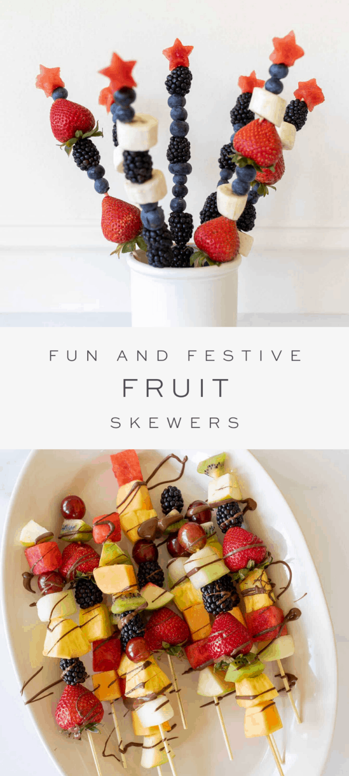 fresh fruit cut in festive shapes on skewers, overlay text, fruit on skewers on platter drizzled with chocolate
