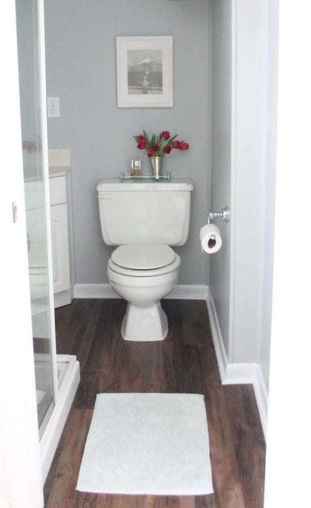 A bathroom with gray walls and faux wood floors.