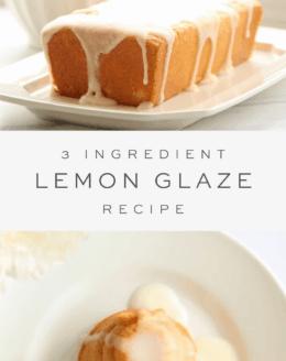lemon glaze on pound cake, overlay text, lemon glaze over honey cake