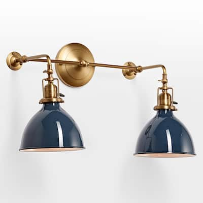 navy and brass sconce