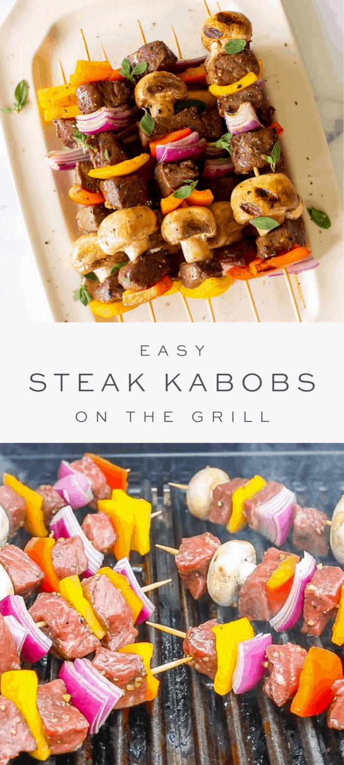 steak kabobs on a platter, overlay text, steak kabobs on the grill