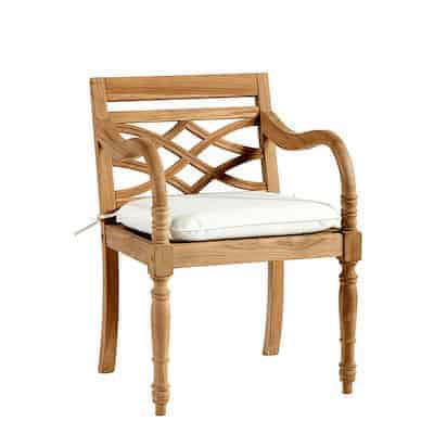 teak side chair with cushion