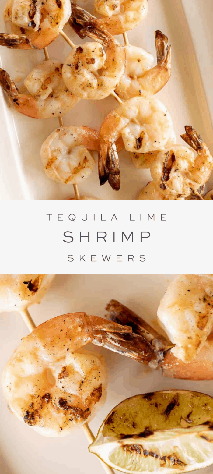 tequila lime shrimp on platter, overlay text, close up of tequila lime shrimp