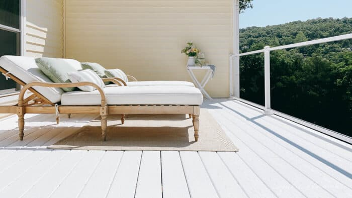 2 chaise lounges on white vinyl deck