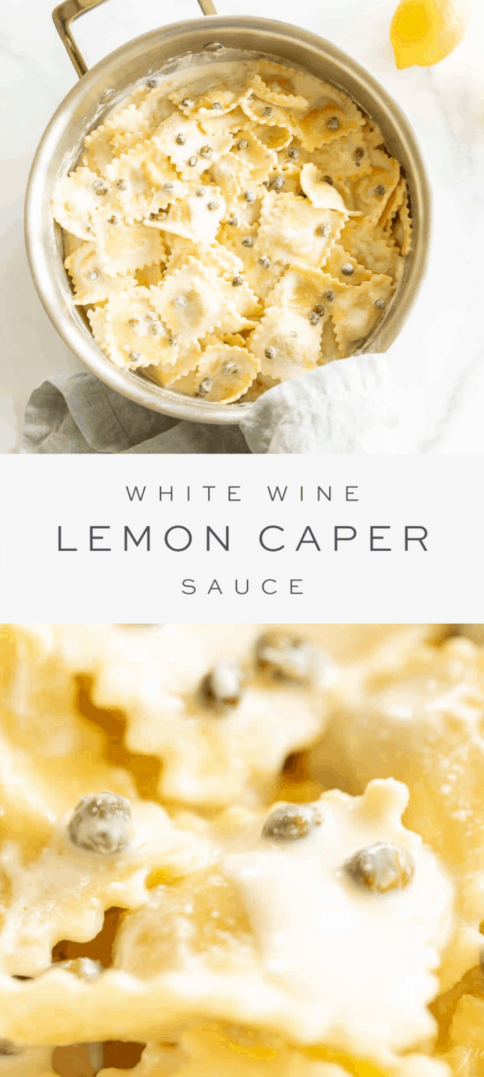 white wine lemon caper sauce in stainless steel skillet, overlay text, close up of white wine lemon caper sauce