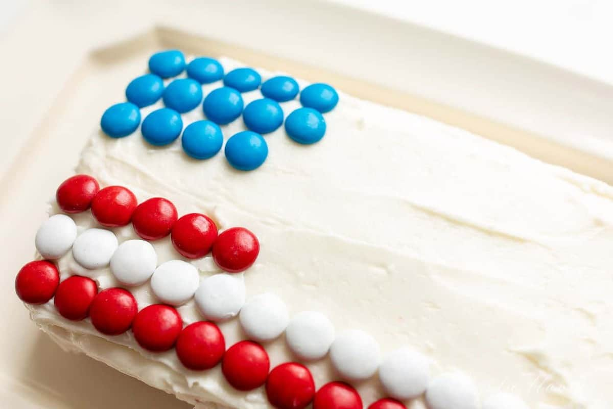A frosted 4th of July cheeseball flag dessert, m&ms making stars and stripes