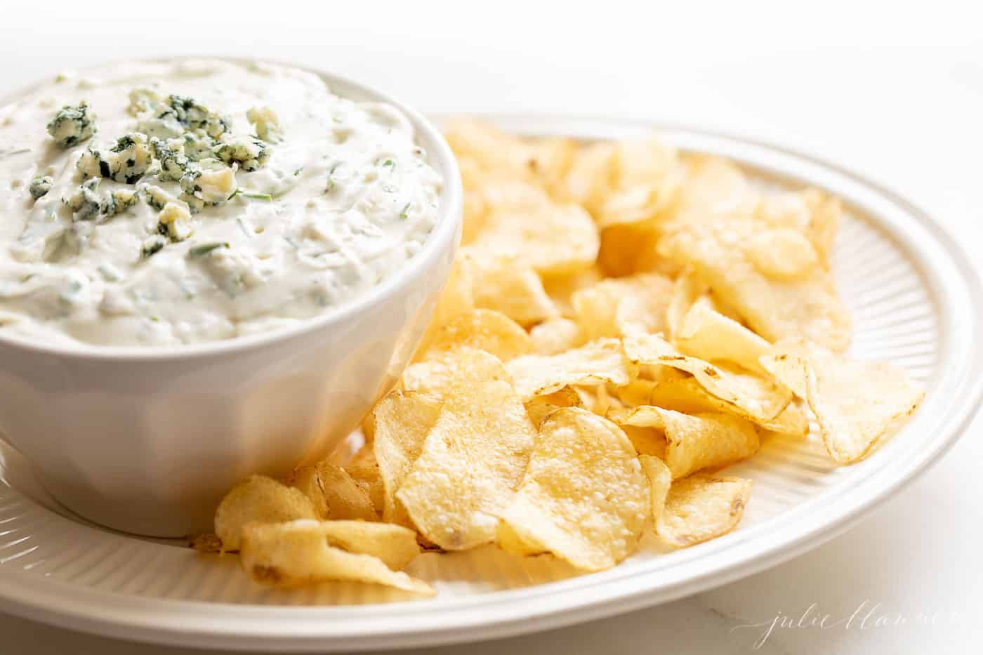 dip in bowl on platter with chips