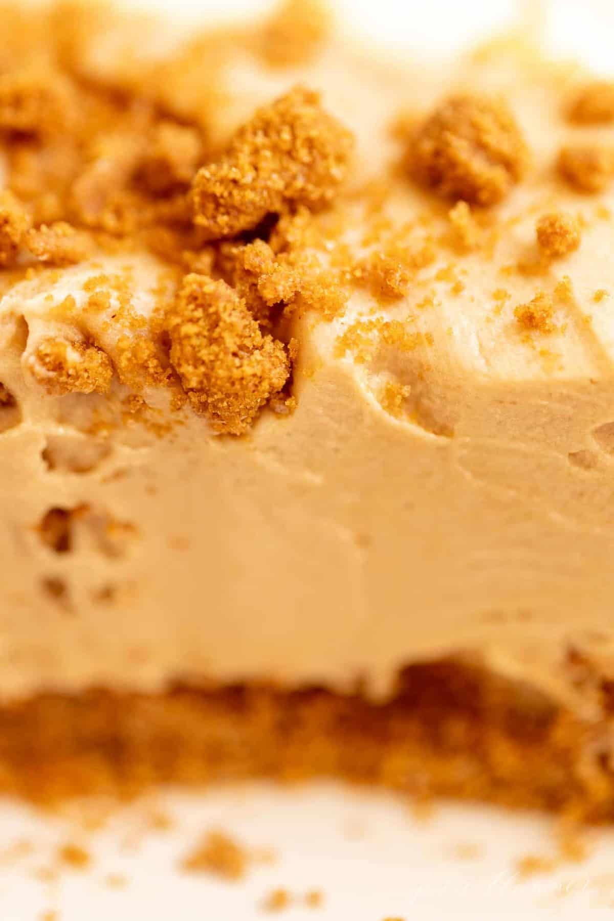 Close up shot of a cookie butter cheesecake recipe.
