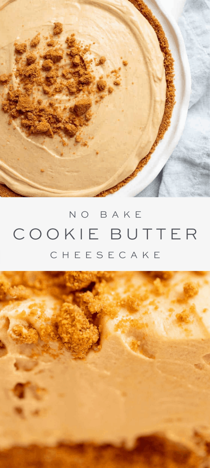 no bake cookie butter cheesecake with graham cracker crumbled on top, overlay text, close up of cheesecake