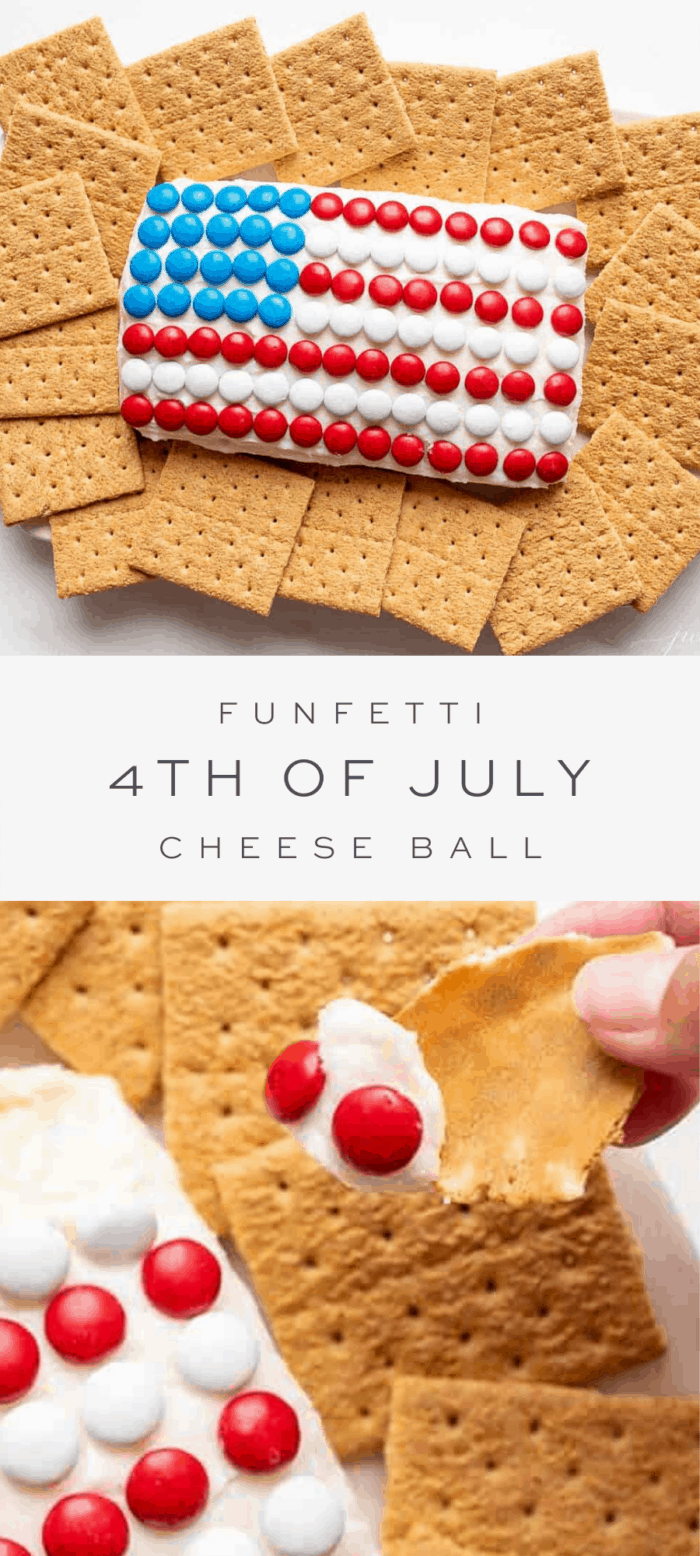 funfetti flag cheese ball with crackers, overlay text, close up of cheeseball