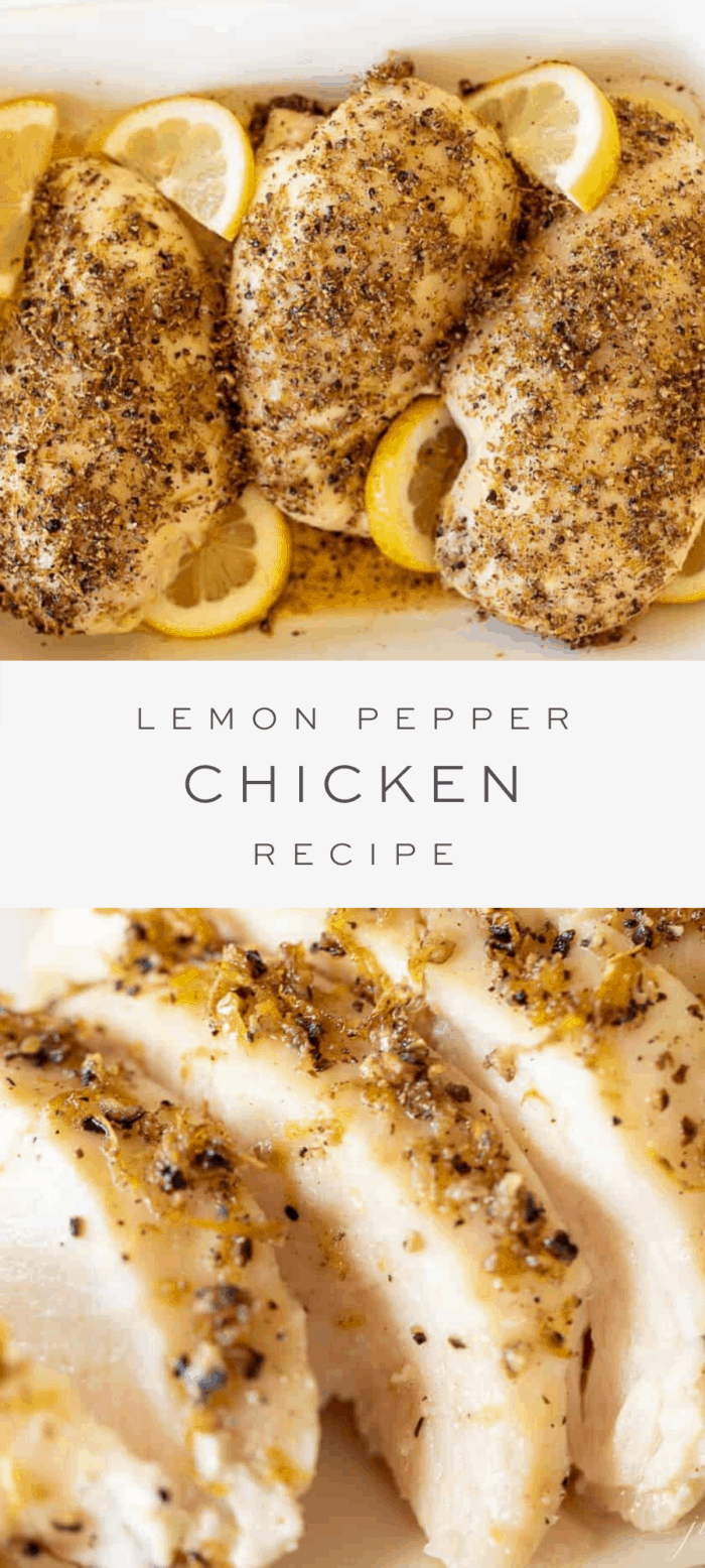 lemon pepper chicken in dish, overlay text, sliced lemon pepper chicken