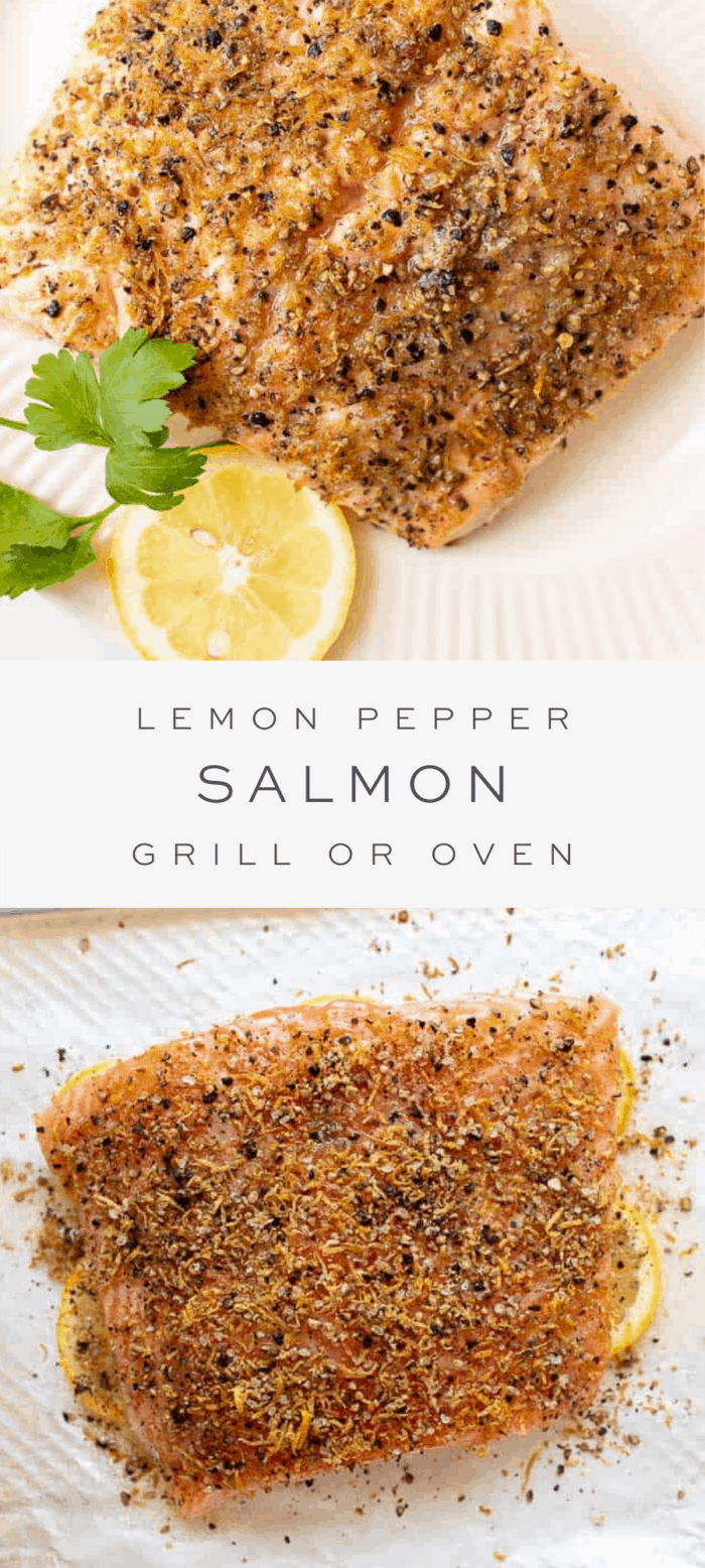lemon pepper salmon on plate with parsley and lemon garnish, overlay text, close up of salmon