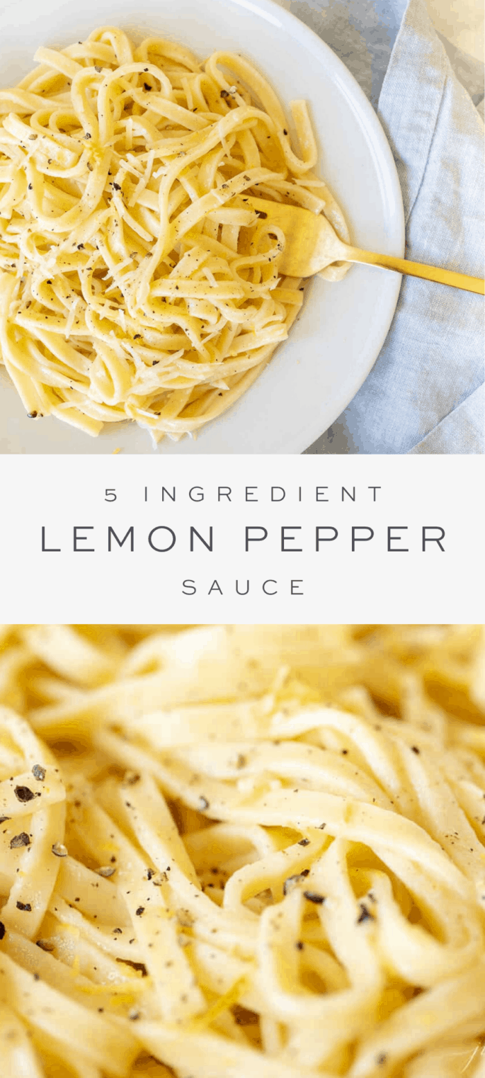 lemon pepper sauce on pasta, overlay text, close up of lemon pepper sauce