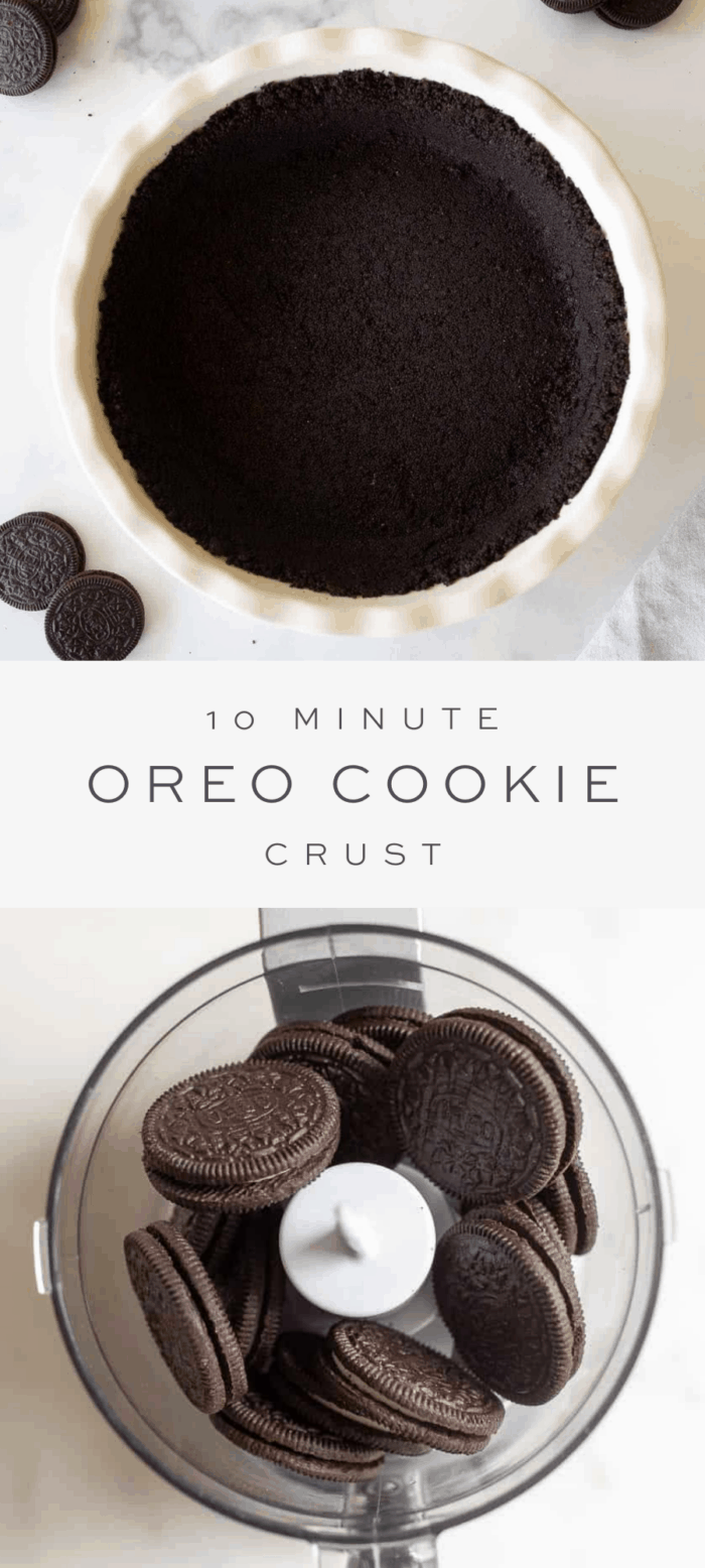 oreo crust in pie dish, overlay text, oreo cookies in food processor