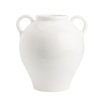 white double handle vase