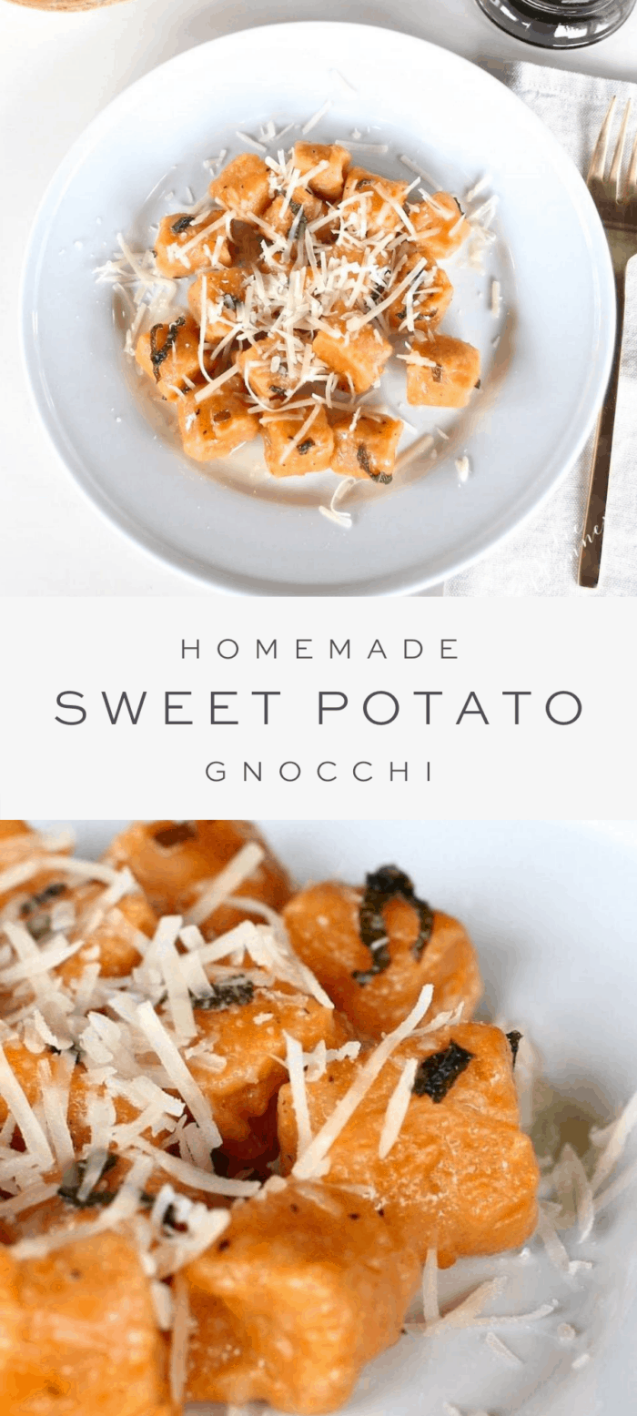 sweet potato gnocchi on plate, overlay text, close up of sweet potato gnocchi